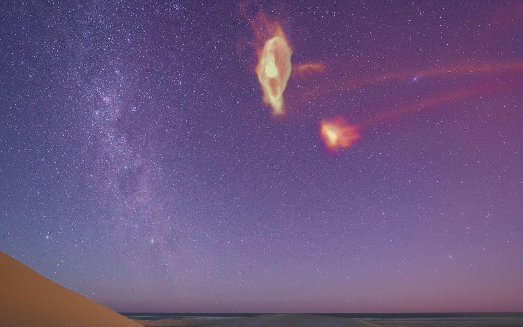 Voici à quoi ressemblerait le courant de Magellan s'il était visible dans le ciel, comme un gaz s'écoulant des Nuages de Magellan. © Colin Legg et Scott Lucchini, Université du Wisconsin