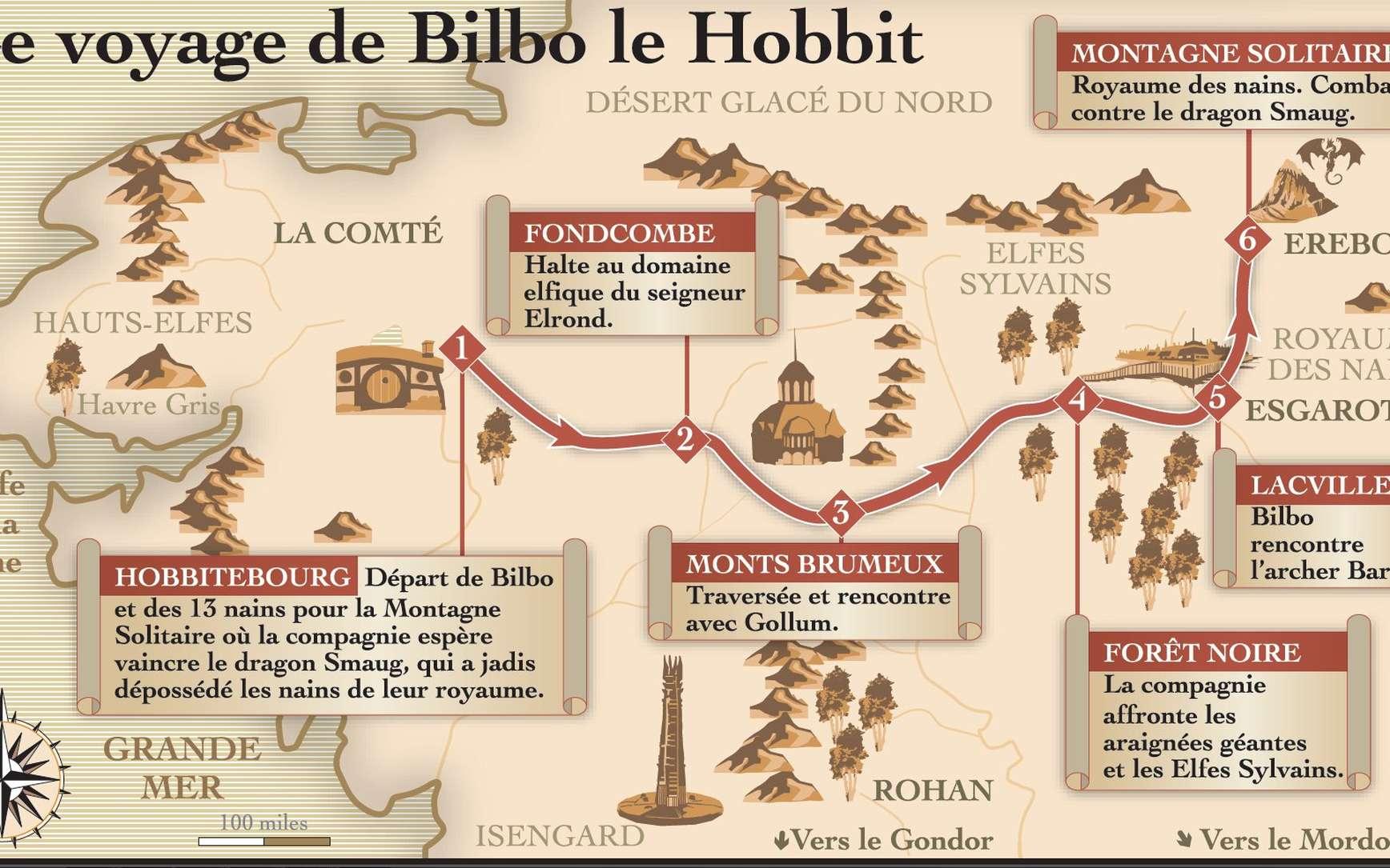 La carte montrant l'itinéraire du Hobbit Bilbo. On connaît maintenant les températures et la pluviométrie qu'il a dû rencontrer. © Idé