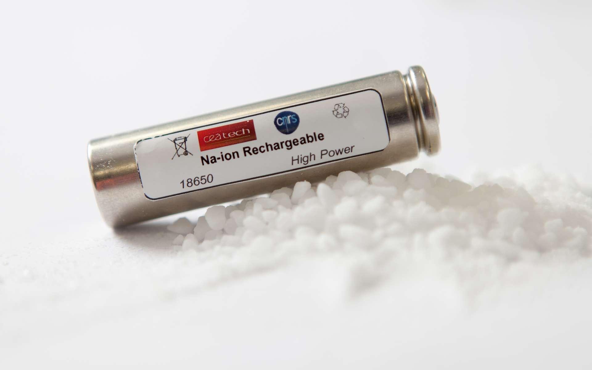 Le prototype de batterie sodium-ion judicieusement présenté sur un tas de sel de cuisine (du chlorure de sodium, donc). C'est la première fois qu'une telle batterie est réalisée dans ce format « 18650 », couramment utilisé dans l'industrie. Le travail de plusieurs laboratoires rend viable la solution du sodium, mille fois plus abondant que le lithium. © Vincent Guilly, CEA