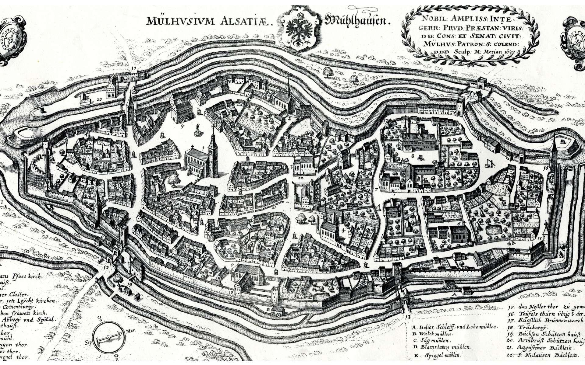 Plan de la ville de Mulhouse réalisé en 1642 par Matheus Merian © Musée Historique de Mulhouse