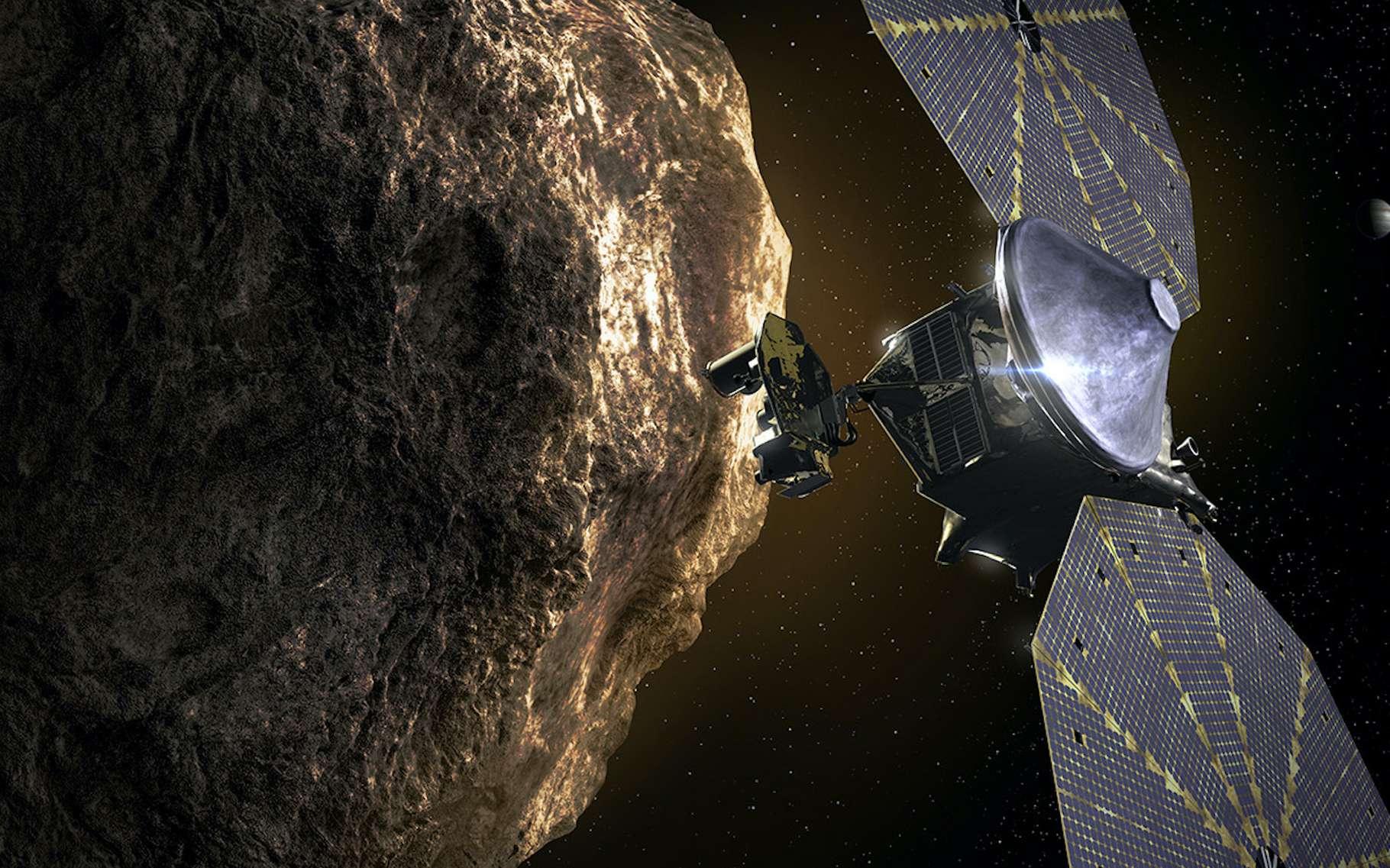 Lucy sera la première mission dédiée à l'exploration des astéroïdes troyens. Et en 2027, elle survolera Eurybates, un astéroïde autour duquel orbite une petite lune. © Nasa