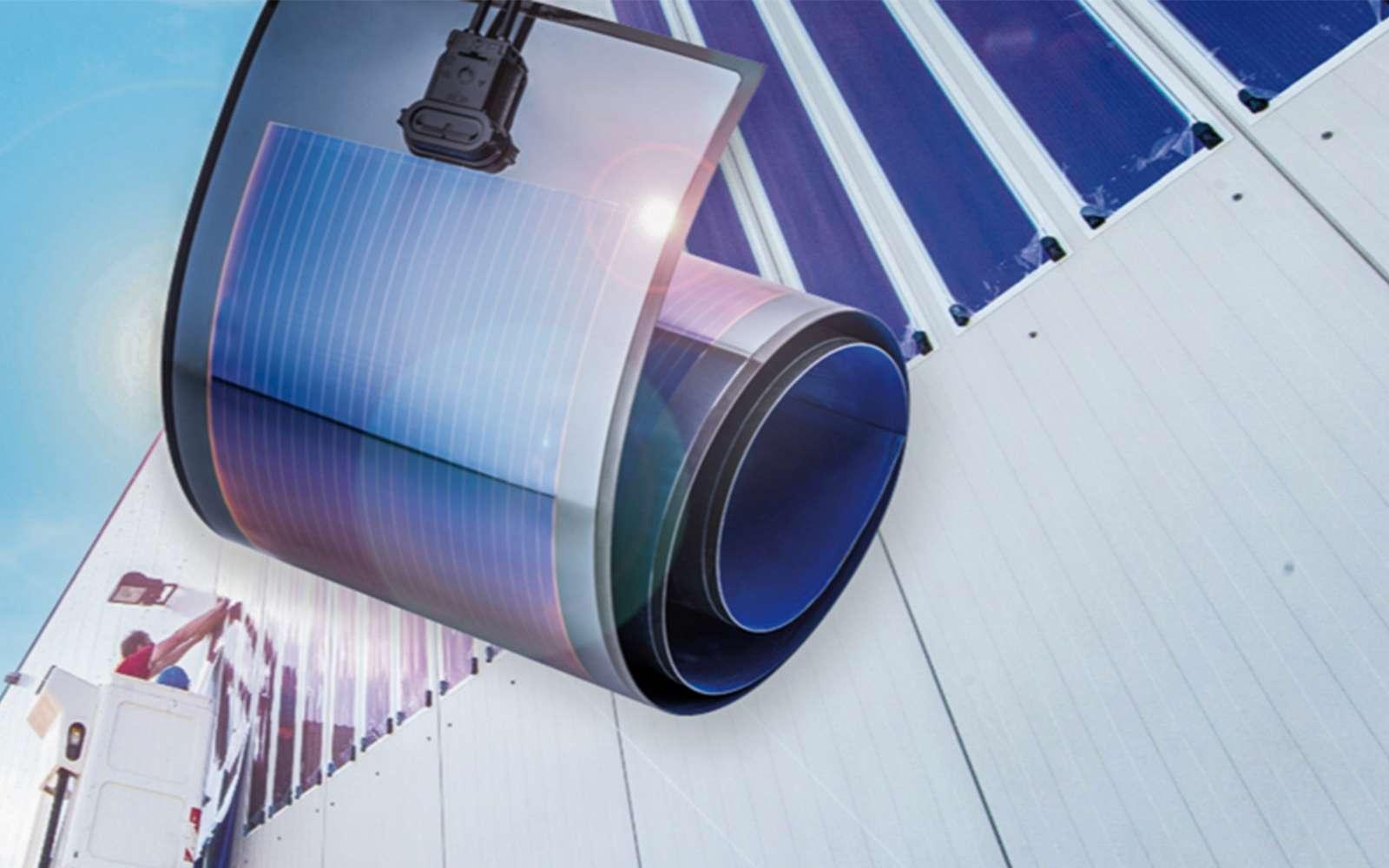 La start-up, Heliatek, crée des panneaux photovoltaïques, légers, souples et autocollants. © Héliatek
