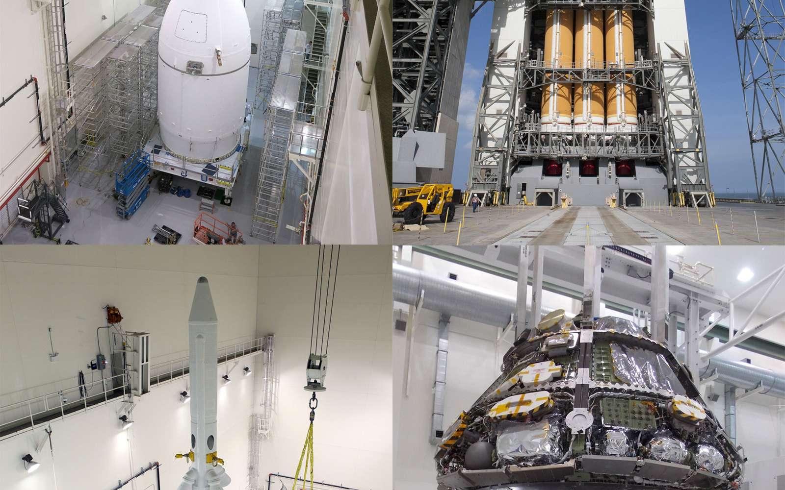 Différentes étapes de la préparation d'Orion pour son premier vol d'essai, comme la mise sous coiffe et l'installation de l'engin sur son bouclier thermique. © Nasa