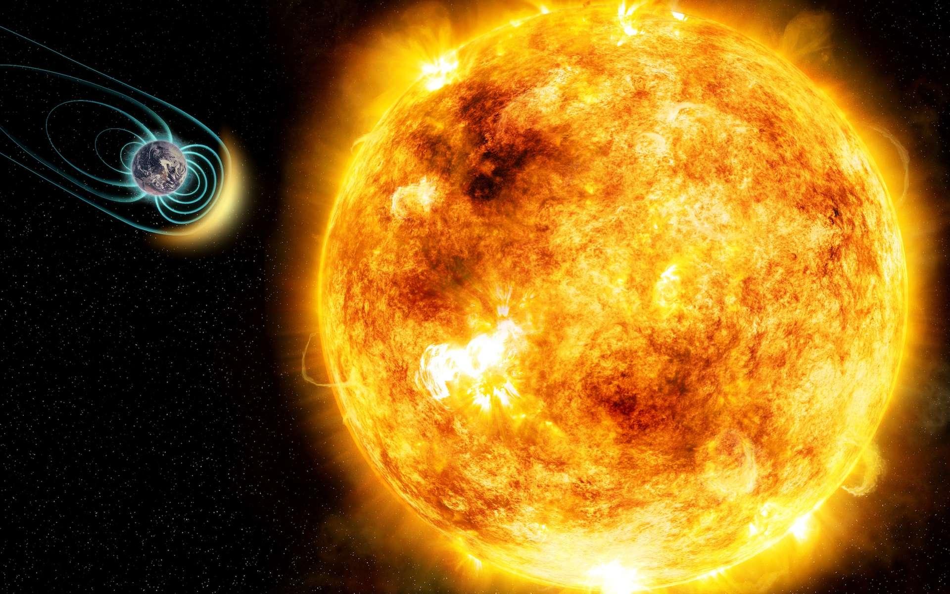 Il y a 4 milliards d'années, les « supertempêtes » du jeune Soleil bousculaient la magnétosphère terrestre jusqu'à 10 fois par jour. © M. Weiss, CfA