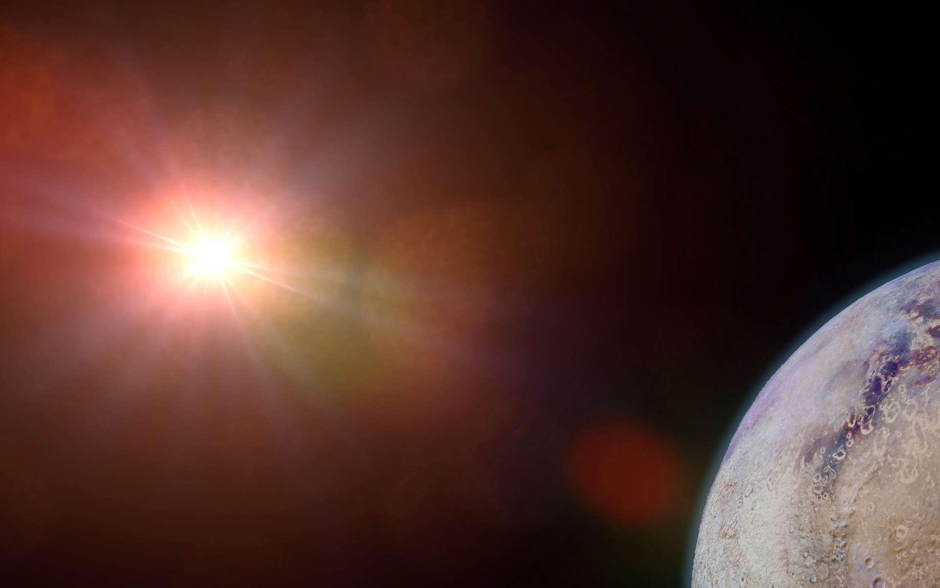 Illustration d'une exoplanète habitable en orbite autour d'une étoile qui ressemble à une naine orange. © dottedyeti, Adobe Stock
