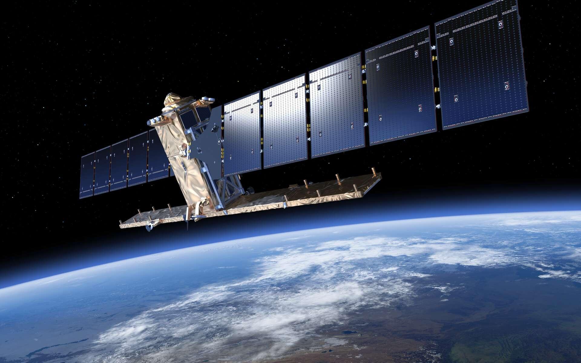 Vue d'artiste du satellite Sentinel-1A. Pour rechercher depuis l'espace un objet flottant à la surface de l'océan, il faut choisir entre une fauchée suffisamment large (la largeur du champ observé) et la résolution (en mètres par pixel). L'identification d'un débris de petite taille est difficile. © Esa, ATG medialab