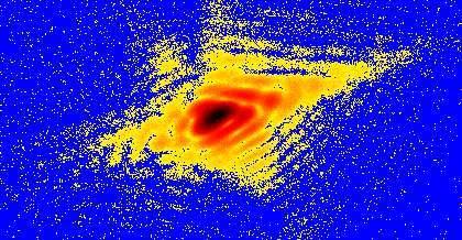 Coupe d'un motif de diffraction des rayons X sur un nanocristal de plomb (Crédits : Ian Robinson X-ray Studies Group)
