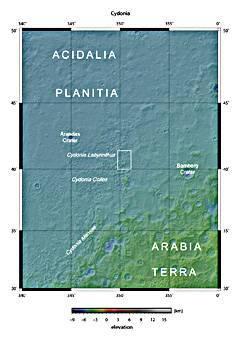 Carte de la région de Cydonia