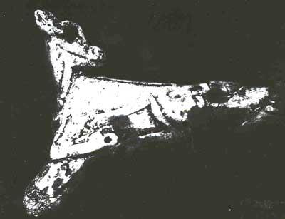 Fig.8 - La faon à l'oiseau de Bédeilhac. D'après Robert, 1953, pl. I et II.  Clichés Romain Robert