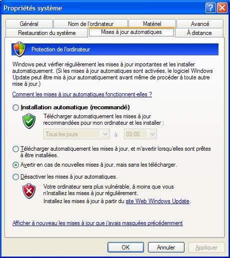 mises à jour automatiques windows XP