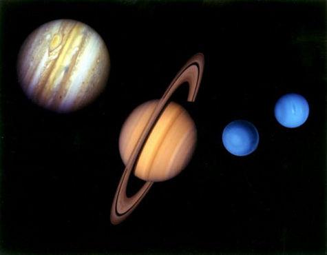 Tailles comparées des géantes gazeuses du Système Solaire (Crédit : NASA).